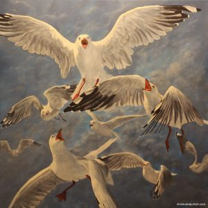 Painting seagulls flying